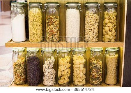 Different Types Of Raw Pasta Spaghetti, Fettuccine, Pappardelle, Fusilli, Cavatappi, Pipe Rigate, Ge