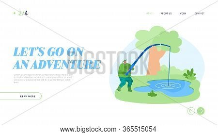 Fishman Have Good Catch Landing Page Template. Fisherman Character With Rod Catching Fish In Pond. F