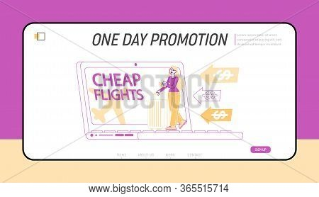 Discount Airline Offer, Cheap Flight, Travel Budget Landing Page Template. Tiny Female Character Sta