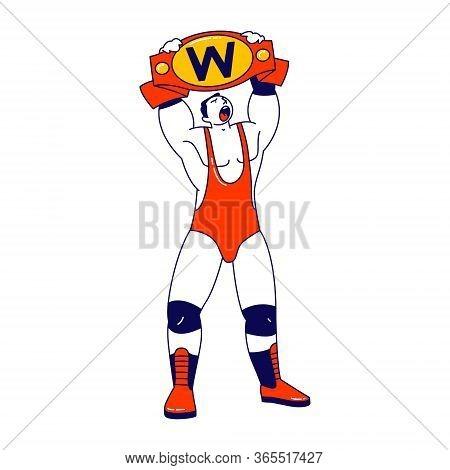 Male Character Wrestling Fight Winner Holding Golden Belt Above Head. Sport, Show Performance, Comba