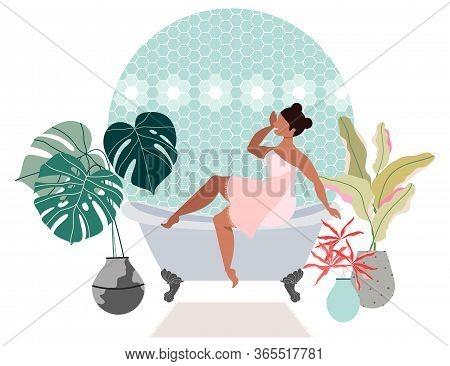 Girl Taking Bath. Woman Sitting On A Bath. Bathroom Interior Design. Trendy Bathroom Design. House P