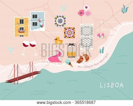 Modern Illustrated Lisbon City Map. Trendy Hand-drawn Stylised Map Of Lisbon With Street Names And P
