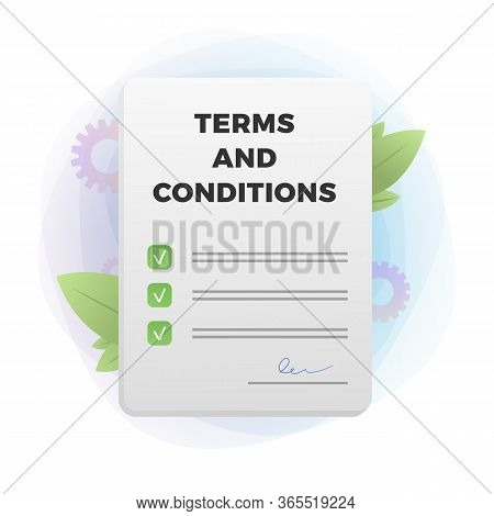 Terms And Conditions, Also Known As Terms Of Use, Vector Icon. Legal Agreements Between A Service Pr