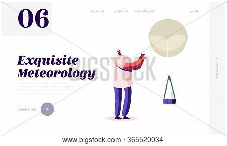 Radiosonde Landing Page Template. Male Character And Meteorology Probe On Air Balloon. Research, Pro