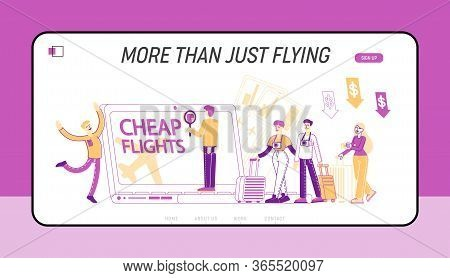 Cheap Flight And Saving Vacation Budget Landing Page Template. Characters Buying Airplane Tickets On