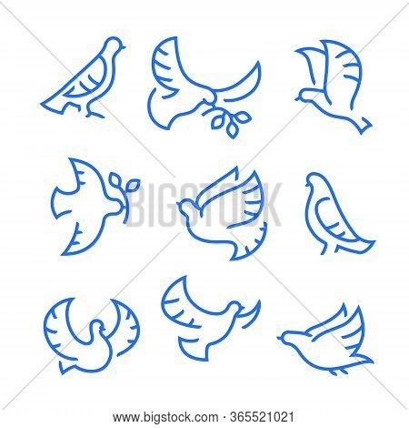 Dove Of Peace Icons Set. Flying Birds With Branch And Leaves, Peace Or Pacifism Concept. Free Flying