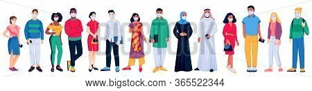 Multiethnic People Crowd In Protective Medical Masks. Vector Flat Cartoon Character Illustration. Wo