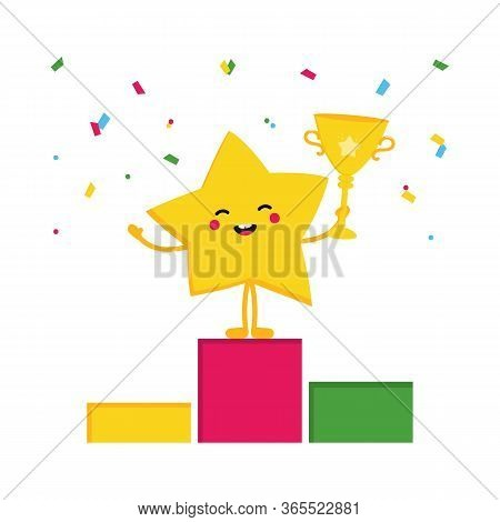 Cartoon Style Vector Star Character Celebrating Triumph, Victory Standing On Pedestal And Holding Tr