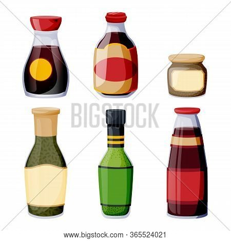 Sauces Of Latin American And Asian Cuisines. Dressing And Marinade Glass Bottles. Vector Food Illust