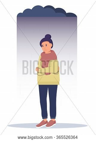 Sad Teenager Girl With Crossed Arms And Lonely Expression.
