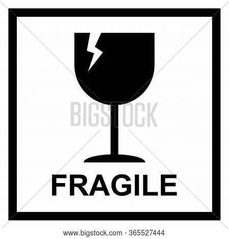 Fragile Flat Icon With Crack And Black Frame Isolated On White Background. Fragile Package Symbol. L