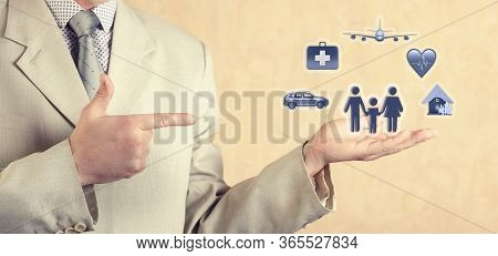 Insurance Concept. Car And Real Estate Insurance, Family And Life Insurance, Travel, Medical Insuran