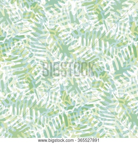 Fern Leaves Vector Seamless Pattern Background. Modern Forest Plant Frond Backdrop. Hand Drawn Monoc
