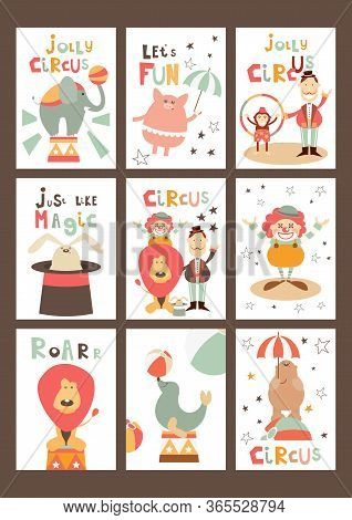 Funny Circus Posters Set - Cartoon Circus Animals And Characters - Clown, Tamer, Illusionist. Kids I