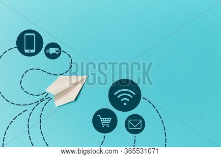 Internet Marketing. Online Delivery. Smm Promotion. E-marketing. Paper Airplane And Cellphone, Troll