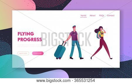 People With Luggage Book Cheap Flight Landing Page Template. Saving Vacation Budget. Couple Characte