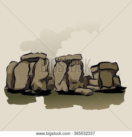 Cartoon Color Stonehenge Landscape Scene Concept Flat Design Style . Vector Illustration Of Ancient