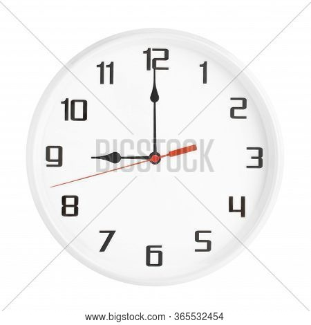 White Clock Isolated On White Background. 9 P.m. Or 9 A.m.