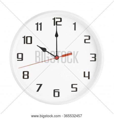 White Clock Isolated On White Background. 10 P.m. Or 10 A.m.