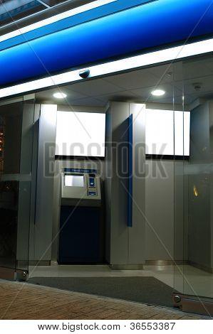 Financial automatic establishment. Night shot.