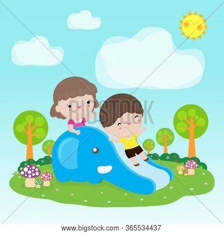 Cute Kids Having Fun On Slide In Playground, Happy Children Playing In Garden, Child Activities On T