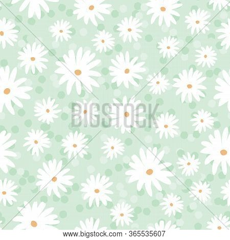 Daisy Meadow Spring Floral Blooms With Spotty Background. Vector Repeat. Great For Home Decor, Wrapp
