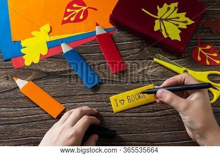 Origami Instruction Step 11. Multicolored Bookmarks Origami Paper Pencil New School Year On A Wooden