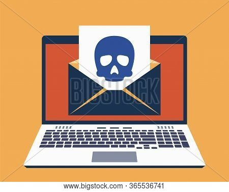 Laptop, E-mail On Its Screen And Paper Leaf With Icon Of Skull On It. Computer Virus Infected Mail C