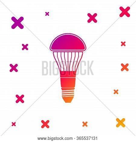 Color Led Light Bulb Icon Isolated On White Background. Economical Led Illuminated Lightbulb. Save E
