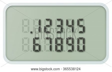 Realistic Calculator Lcd Display And Digital Numbers, Vector Template