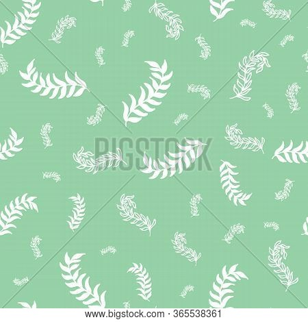 Meadow Ditzy Spring Leaves Vector Repeat Pattern. Pattern For Fabric, Backgrounds, Wrapping, Textile