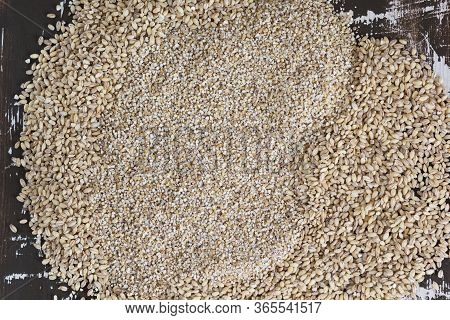 Top View Of Raw Pearl Barley And Barley Groats On The Wooden Background