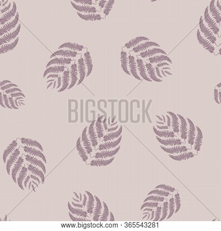 Fern Leaves Vector Seamless Pattern Background. Forest Plant Frond Monochrome Purple Backdrop. Hand