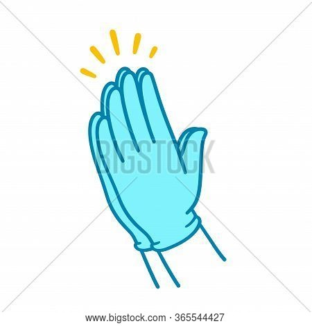 Praying Hands In Blue Surgical Latex Gloves, Simple Illustration. Hands Folded In Christian Prayer.