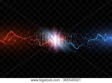 Red And Blue Electric Lightning Collision. Versus Abstract Background With Thunderbolt. Vector