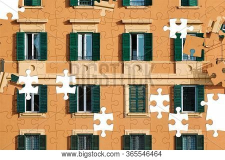 Assorted Jigsaw Puzzle Of Part Of The Facade Of An Orange Italian Building With Windows With Green S