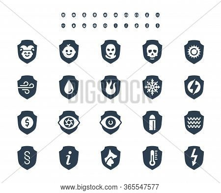 Resistance, Protection From External Influence And Guarding Related Vector Icon Set In Glyph Style,