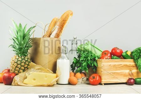 Delivery Of Grocery. Chest With Fresh Fruit And Vegetables Bright Green Dairy Meat Produce. Eco Frie