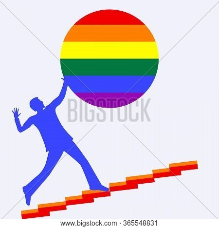 Man Climbs The Stairs Holding A Ball Rainbow Pride Lgbt Movement - Isolated On White Background - Ve