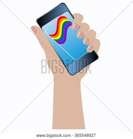 Rainbow Lgbt Movement Pride Flag - Smartphone In Hand. Colorful Illustration - Vector. Gay Pride. Lg