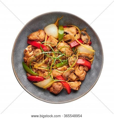 Thai Ginger Chicken Or Gai Pad King In Gray Plate Isolated On White Backdrop. Gai Pad King Is Thaila