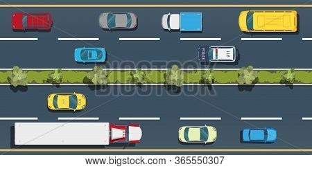 City Transport Top View .trucks, Cars, Buses On The Freeway.active City Traffic Concept.