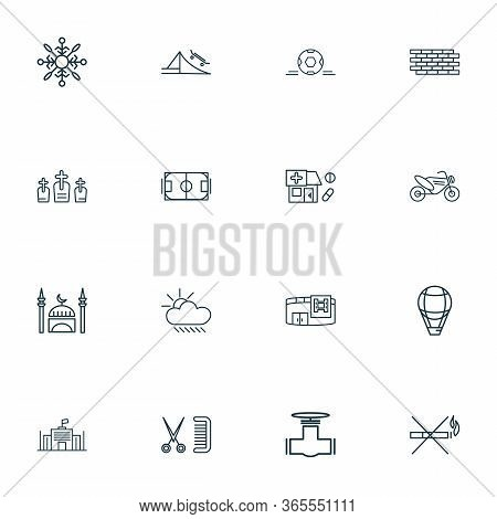 Public. Skyline Icons Line Style Set With Motor Bike, No Smoking, Football Field And Other Coiffure