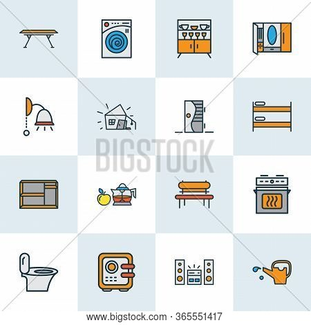 Home Decoration Icons Colored Line Set With Shelving Unit, Cupboard, Washing Machine And Other Dress