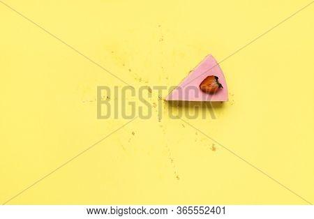 Slice Of Cheesecake With Strawberry Gelatine Filling. Last Piece Of Strawberry Cheesecake. Refreshin