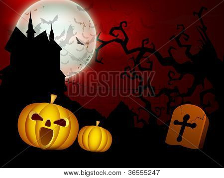 Scary Halloween full moon night background with pumpkin, grave, dead tree branches and haunted house. EPS 10. poster