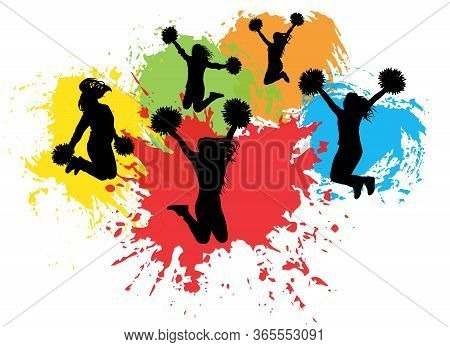 Jumping Cheerleaders With Pompoms On Background Of Colorful Splash (blots), Silhouettes. Vector Illu