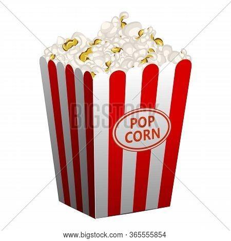 Popcorn Basket Icon. Cartoon Of Popcorn Basket Vector Icon For Web Design Isolated On White Backgrou