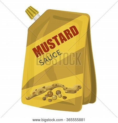 Mustard Package Icon. Cartoon Of Mustard Package Vector Icon For Web Design Isolated On White Backgr