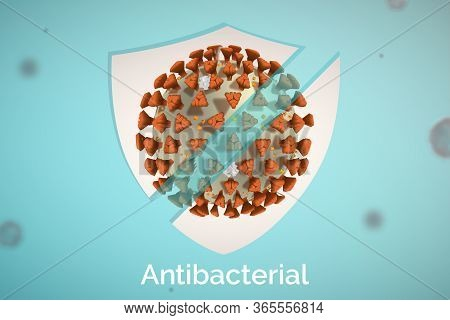 Vector Antibacterial Bottle Label For Surface Cleanser To Kill Viruses, Bacteria And Germs.